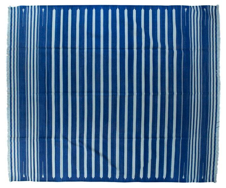 Blue & White  Dhurrie, 10' x    8'