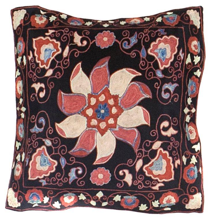 Black Suzani Pillow w/ Wheel Pattern
