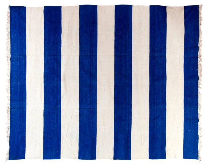 Blue & White Striped Dhurrie,  8' x 10'