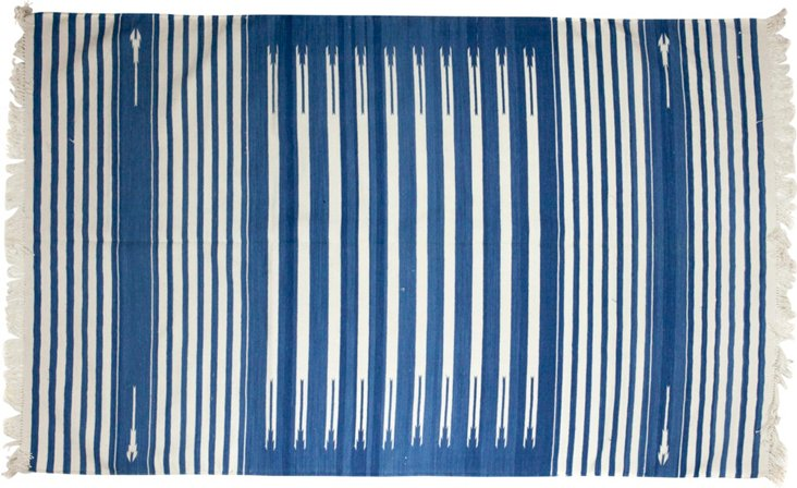 "Indian Striped Dhurrie, 4'2"" x 6'11"""