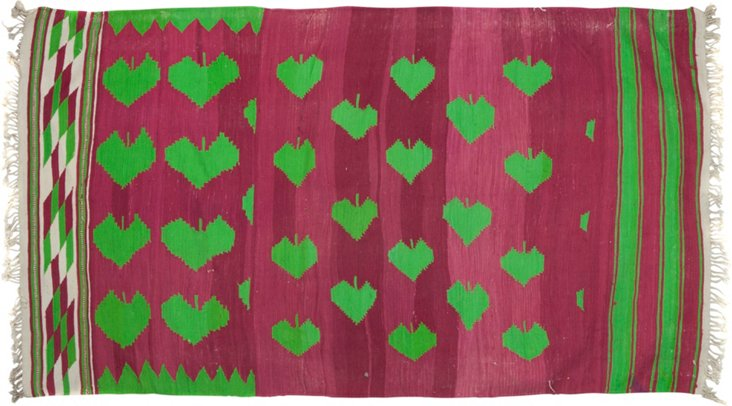 "Dhurrie, Green Hearts, 5'10"" x 3'4"""