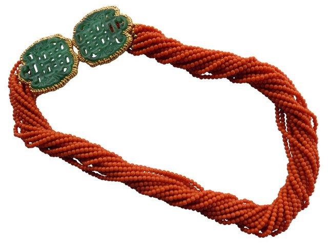 KJL Faux-Coral & Jade Necklace