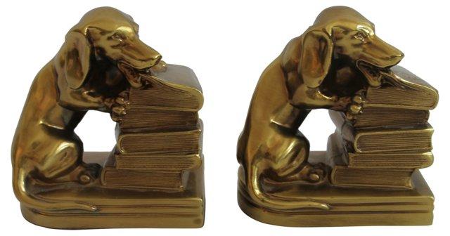 Brass Dog Bookends