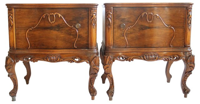 French Carved   Nightstands, Pair