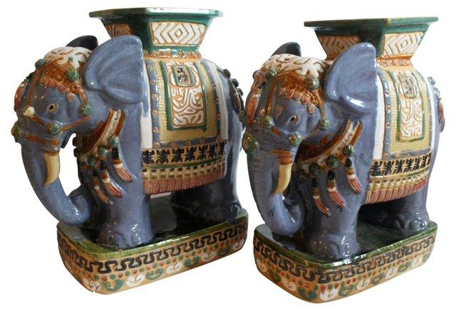 Elephant Garden   Stools, Pair