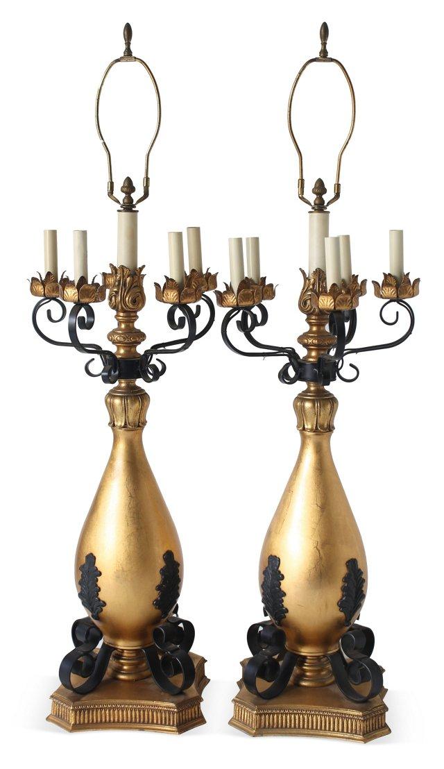 Gilt & Iron Candelabra Lamps, Pair