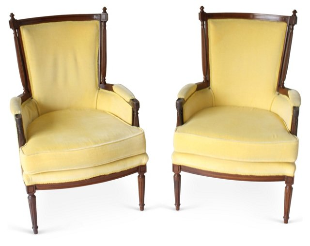 High-Back  Armchairs, Pair
