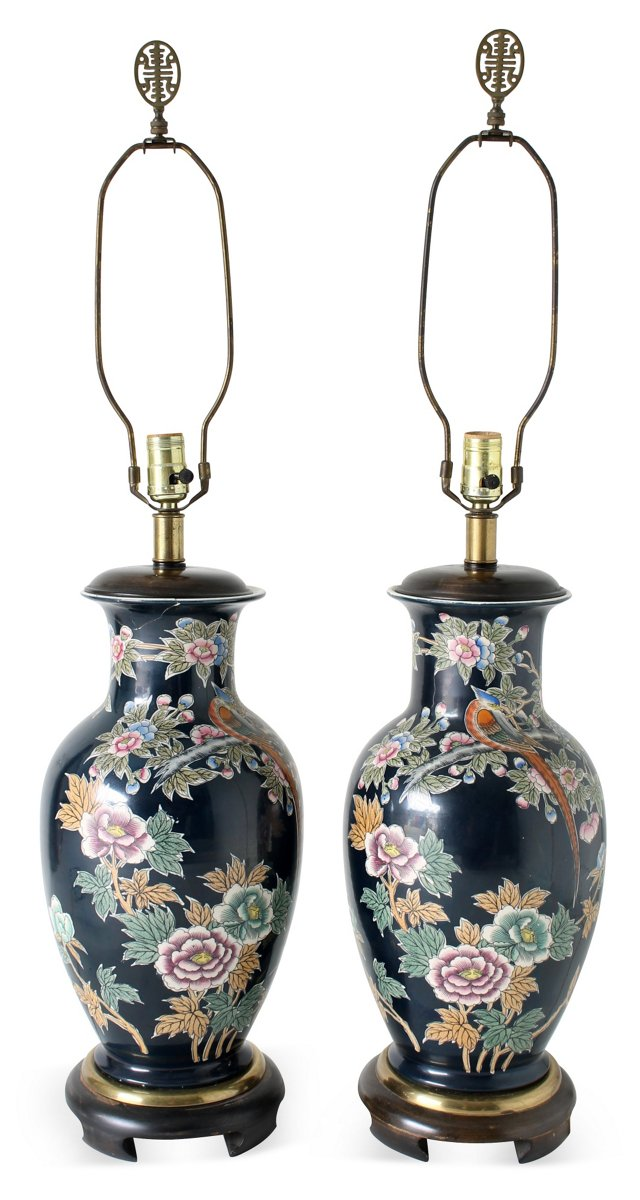 Chinoiserie-Style    Lamps, Pair