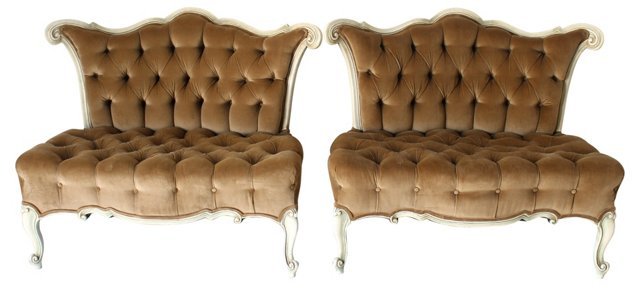 French-Style Tufted  Settees, Pair