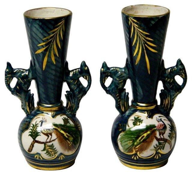 Peacock Bud Vases, Pair
