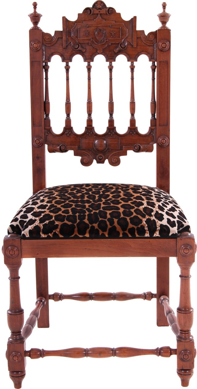 19th-C. Carved Oak Chair