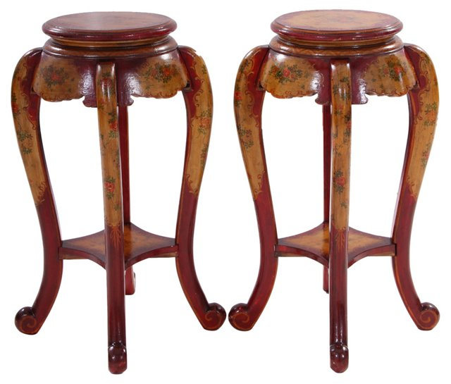 19th-C.   Venetian Plant Stands, Pair