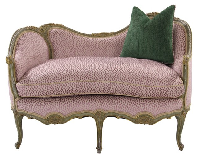 19th-C. Victorian Settee w/ Pillow