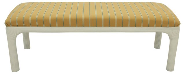 Upholstered Faux-Bamboo Bench