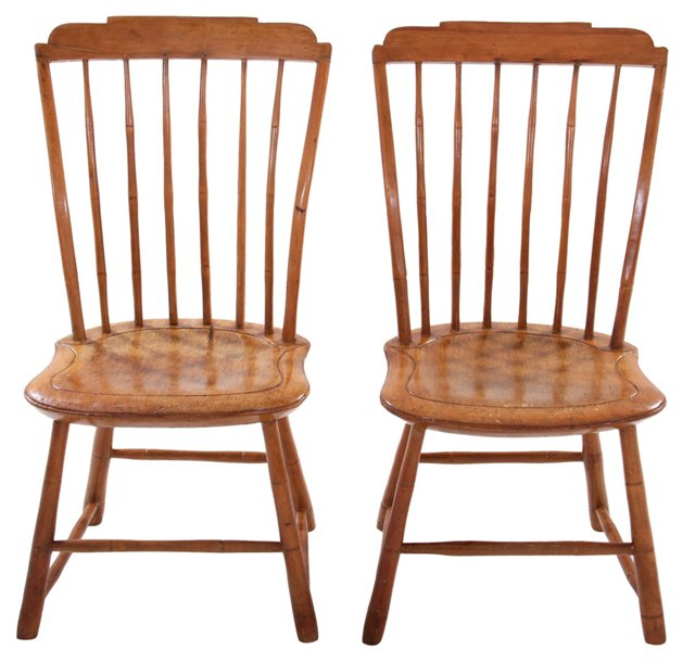 Windsor Plank-Seat Chairs, Pair
