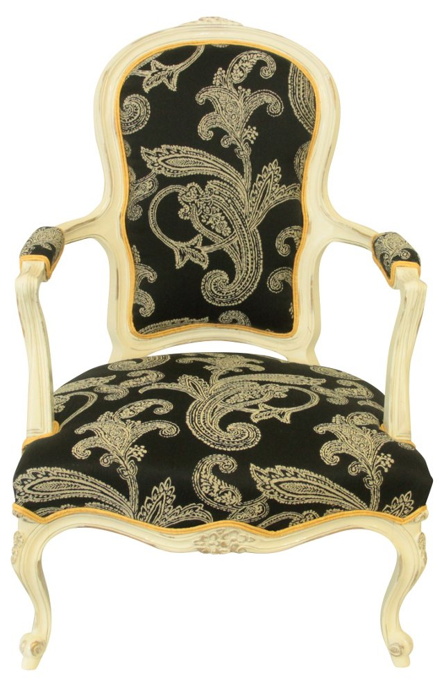 Queen Anne-Style Upholstered Chair