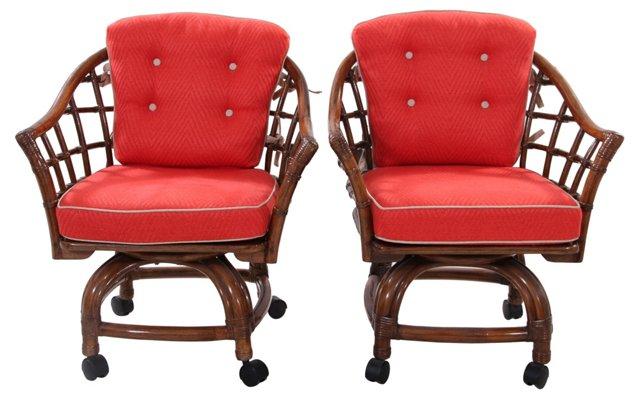Bamboo Swivel Chairs, Pair