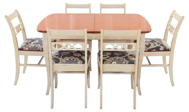 Midcentury Dining Table & Chairs, S/7