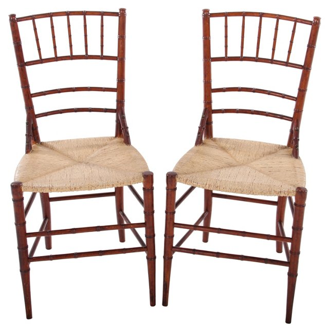 Antique Bamboo  Chairs, Pair