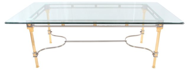 Brass, Steel & Glass Dining Table