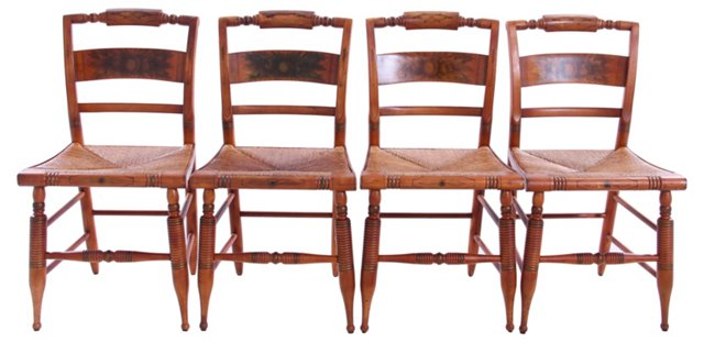 Hitchcock     Stenciled Chairs, S/4