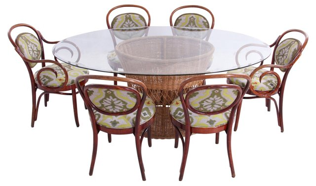 Wicker & Bentwood Dining Set(hold)