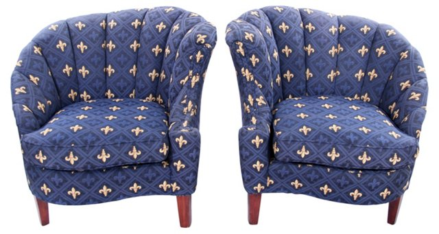 Royal Blue Channel-Back Chairs, Pair