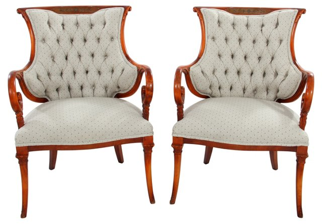 Tufted-Back Armchairs, Pair