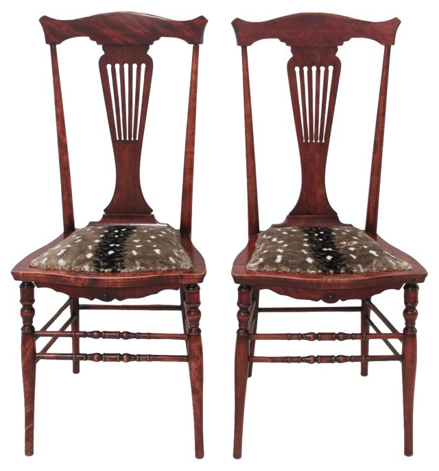 Spanish Chippendale Fawn Chairs, Pair