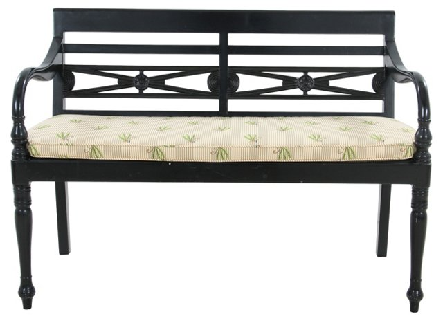 Black Bench with Cushion