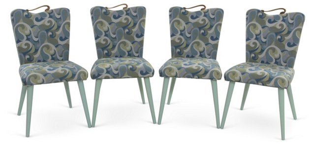 Midcentury Upholstered Chairs, Set of 4
