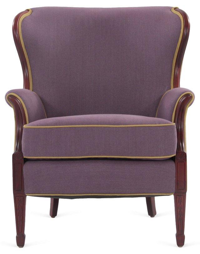 Purple Linen Wingback