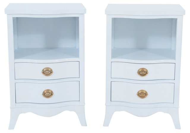 Drexel  White Nightstands, pair