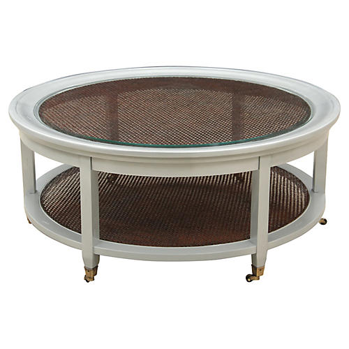 Round Two Tier Caned Coffee Table
