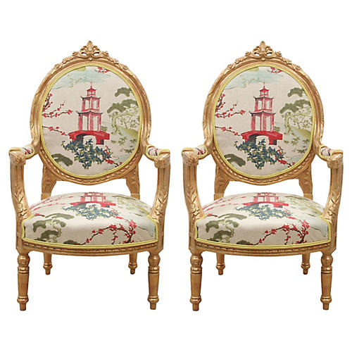 Rocaille Oval Back Chairs, Pair
