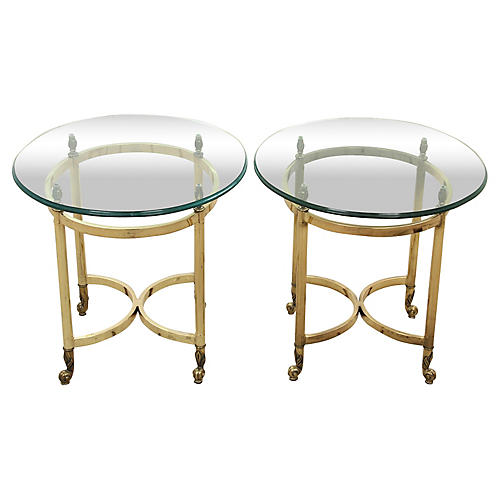 Oval Brass and Glass End Tables