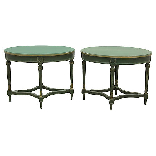 Neoclassical Oval End Tables, Pair