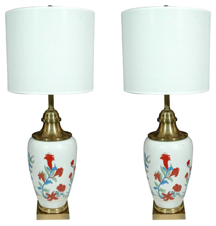 Hand-Painted Lamps by Chapman, Pair