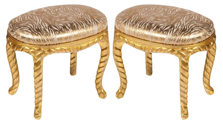 Giltwood Faux-Rope Ottomans, Pair