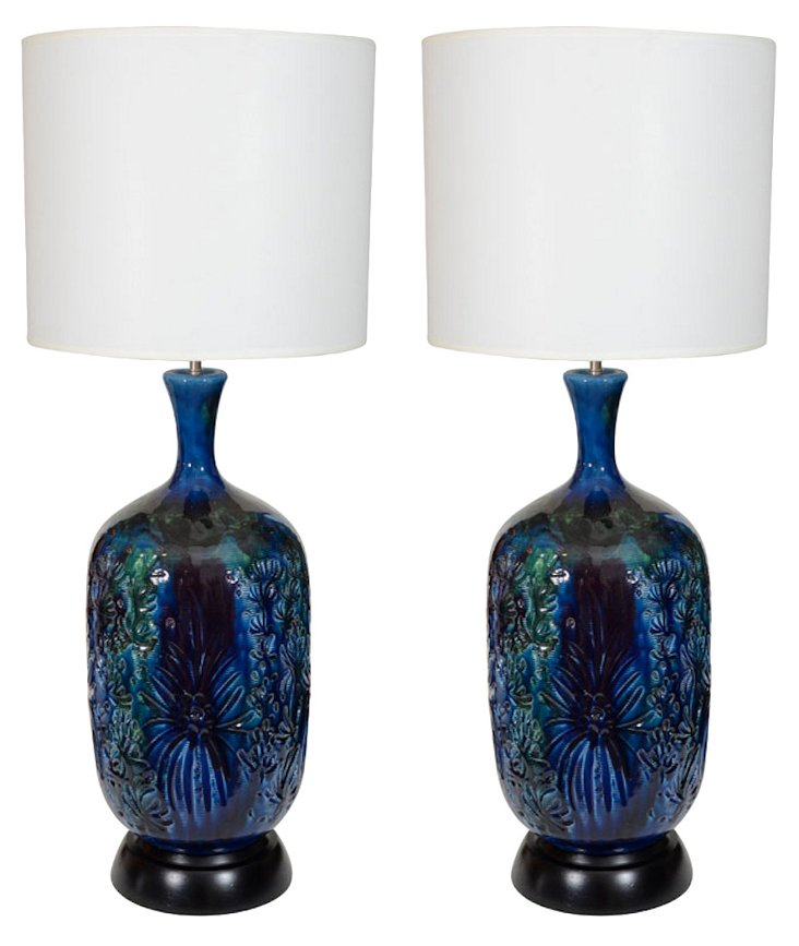 Italian Blue-Green Ceramic Lamps, Pair