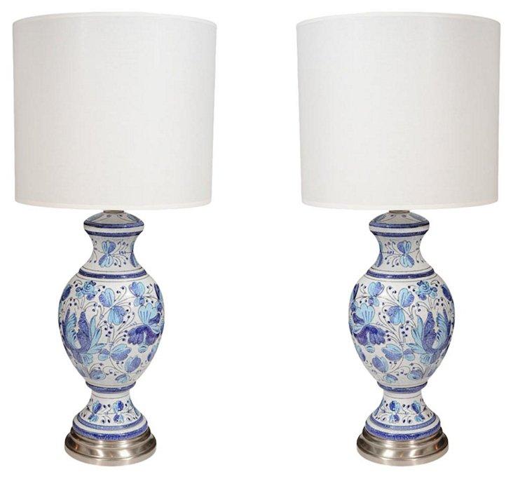 Bitossi Floral Ceramic Lamps, Pair