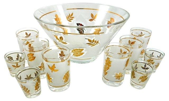 Libbey Punch Bowl & 10 Glasses