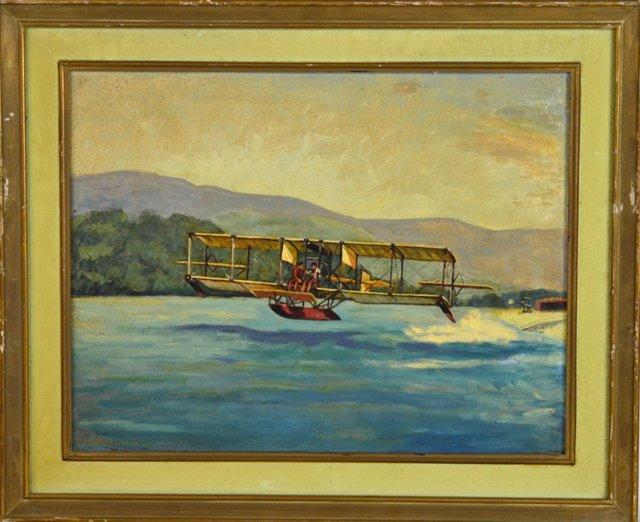 Early Biplane ~ Vintage Painting