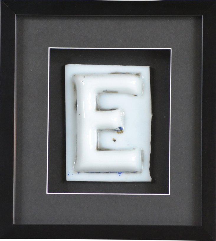 Framed Antique Milk Glass Letter  E