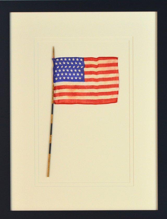 Framed Antique 45-Star Flag  c-1896