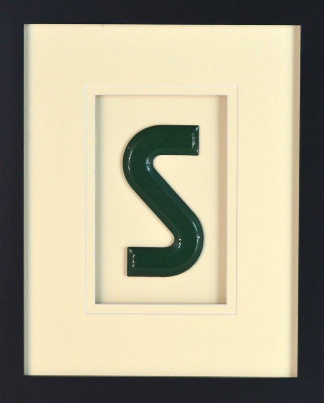 Framed Porcelain Sign Letter 1950-1960's