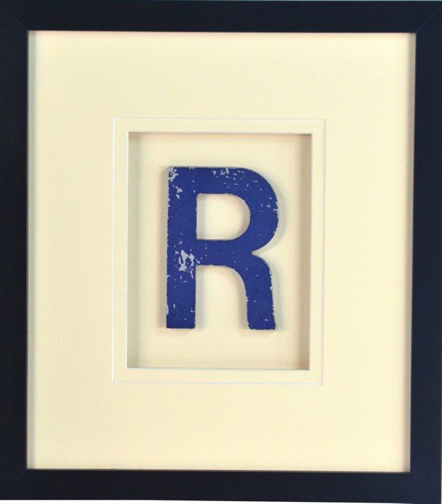 Vintage Blue Sign Letter   R
