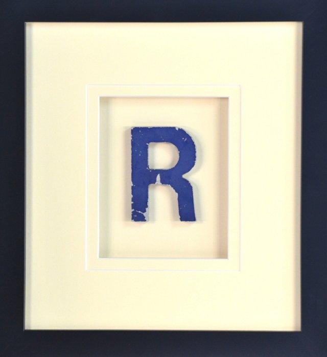 Framed Metal Sign Letter R