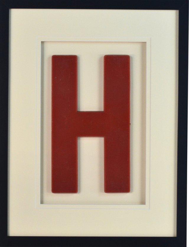 Large Vintage Sign Letter H