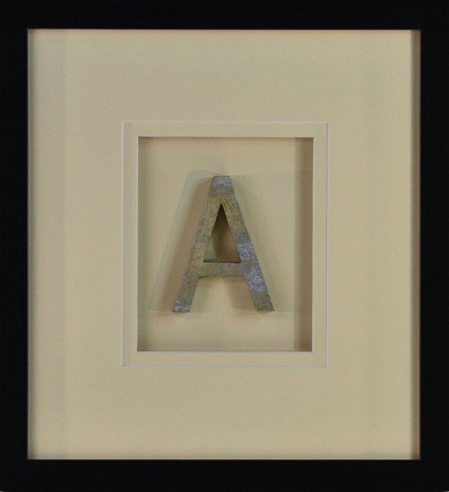 Framed Aluminum Sign Letter  A